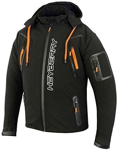 HEYBERRY Soft Shell Motorradjacke Textil Schwarz/Orange Gr. M