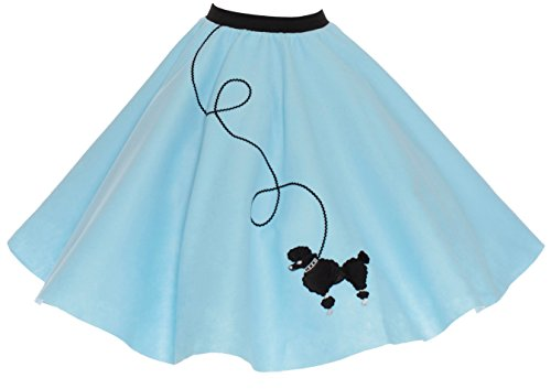 Homemade Car Hop Girl Costume (Hip Hop 50s Shop Adult Poodle Skirt Light Blue XL/2X)
