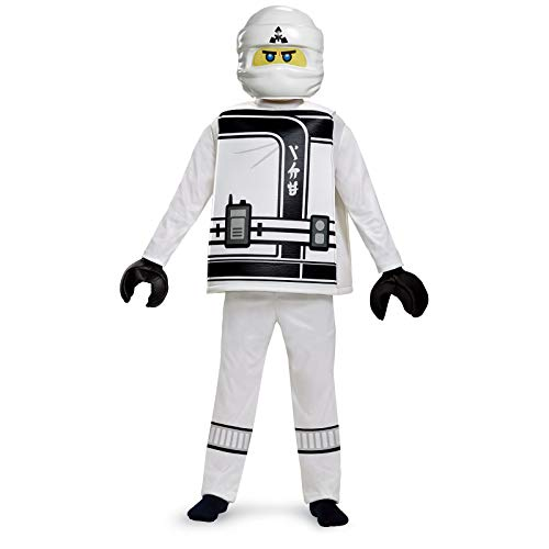 Disguise Zane Lego Ninjago Movie Deluxe Costume, White, Medium -