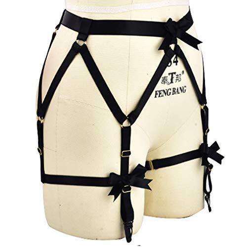 c6ff2e6a9 PETMHS Women Strappy Body Harness Garter Belt Stockings Lingerie Elastic  Suspender Belt (Black)