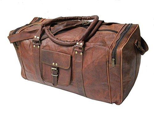 IHV Handmadecart Vintage 24'' Men's Genuine Leather Duffle Travel Overnight Gym Bag Big Brown