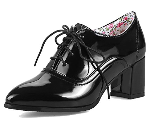 Oxford Bootie Heels Shoes Waterproof Women's Up Shoes Black Lace Chunky Block School HiTime Girls Leather Brogue P7wBqOW6O