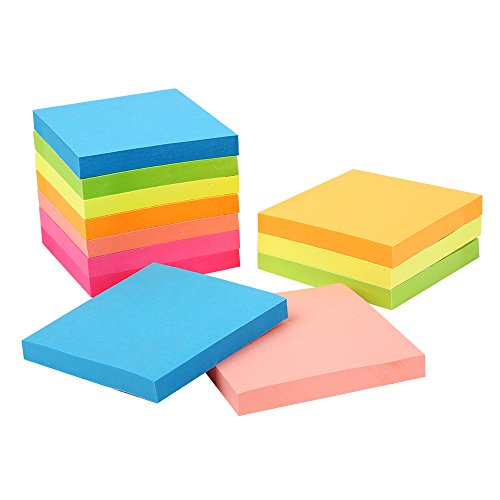 Sticky Notes 3x3 inches,100 Sheets/Pad, 12 Pads Self-Stick Notes with 6 Colours Self-Stick Notes, Easy to Post for Home, Office