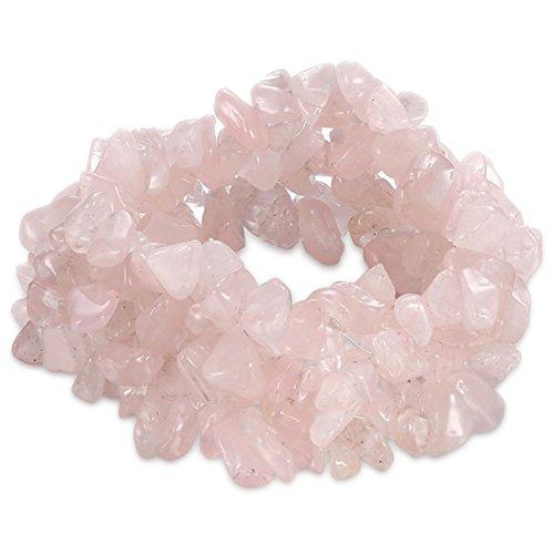 FOY-MALL Natural Rose Quartz Chips Bead Stretch Bracelet E1524M