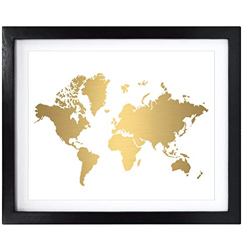 Susie Arts 8X10 Unframed World Map Gold Foil Art Print Map Picture for Office Wall Decor Living Room Bedroom Home Decorations - Map Gold
