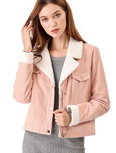 Allegra K Women's Fleece Collar Corduroy Coat Winter Jacket S (US 6) Pink