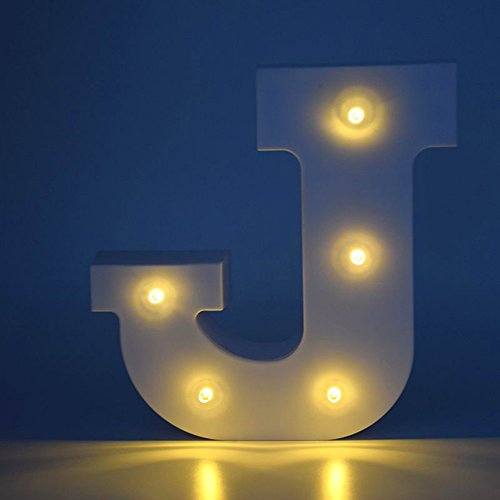 ARTSTORE Decorative DIY LED Letter Lights Sign,Light Up Wooden Alphabet Letter Battery Operated Party Wedding Marquee Décor,Warm White J ()