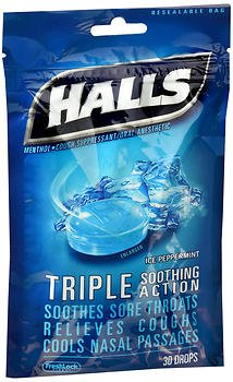 - Halls Mentho-Lyptus Drops Ice Peppermint- 30 ct, Pack of 6