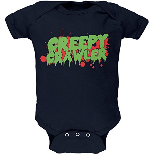 Old Glory Halloween Creepy Crawler Navy Soft Baby One Piece - 18-24 -