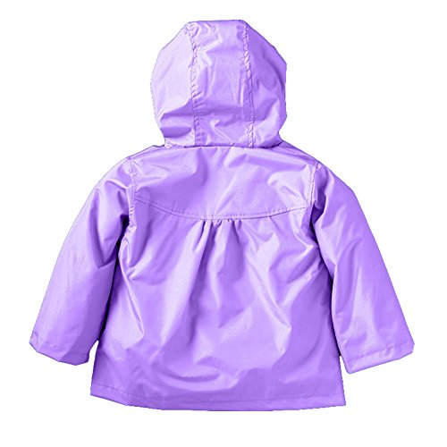 Colorful Waterproof Wind Jacket Girls' Coat Flower Rain Baby Purple JIANLANPTT Hooded BwqfIxPOq