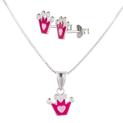 SL-SILVER Conjunto de plata de ley 925, cadena y pendientes infantiles, diseño de corona con corazón, con caja de regalo