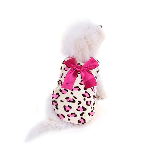 Per Dog Cat Thick Winter Jacket with Leopard Pattern, Cute & Warm Winter Clothing for Small Dog - Pink, XXS/XS/S/M
