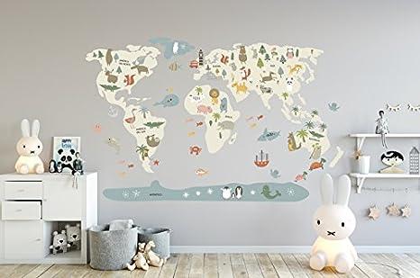 Menudos Cuadros Vinilo Decorativo Infantil mapamundi Beige de ...