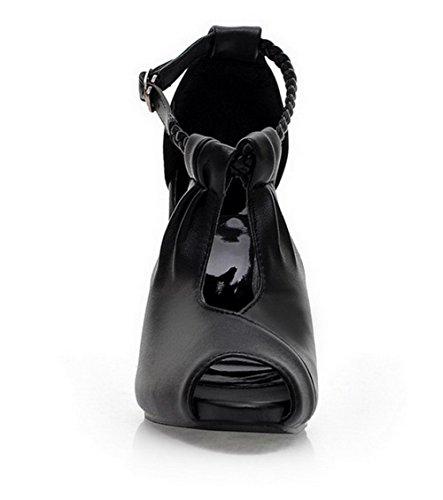 Haut Sandales Noir PU Femme Cuir à Talon Couleur TSFLG005153 Petite Unie Ouverture AalarDom qHSxvnw0ZZ