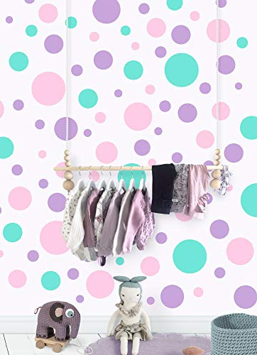 Create-A-Mural Polka Dot Wall Decals -Pastel Decor For Girls Room Stickers (Lilac,Pink,Mint) Vinyl Peel & Stick Nursery - Mural Dot Polka