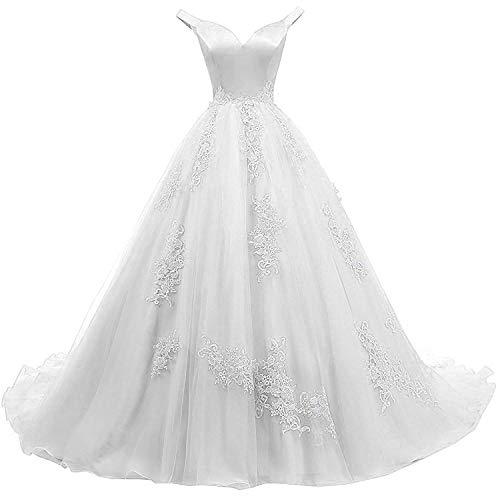 - Zyhappk A Line Off Shoulder Evening Dresses for Women Empire Waist Quinceanera Ball Gown Formal Celebrity Appliqued Lace Satin Women Dresses ZY10 White Size 2