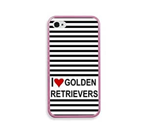 Love Heart Golden Retrievers Pink Silcon Pink Bumper iPhone 4 Case Fits iPhone 4 & iPhone 4S