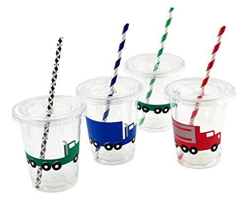 Semi Truck Party Cups - 12ct Transportation Big Rig Birthday Party Baby ()
