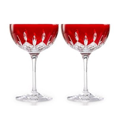 Waterford Crystal Lismore Pops Red Cocktail Pair