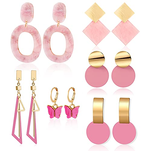 CHANBO 6 Pairs Korean Statement Earrings for Women Pink Sweet Arcylic Geometric Dangle Drop Gold Earings 2021 Fashion Jewelry