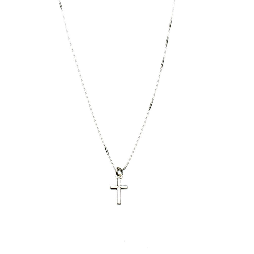 Sterling Silver Tiny Cross Charm Box Chain Nickel Free Necklace Italy 14''