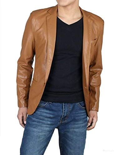- King Leathers Men's Genuine Lambskin Real Leather Blazer One Button Brown Coat