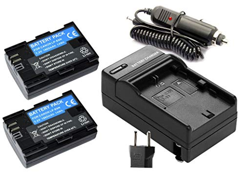 KIT 2X Baterias LP-E6 + Carregador para câmera Canon EOS Digital 5D Mark II, EOS 60D, EOS Digital 7D, 70D, 80D