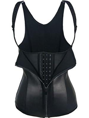 iSZEYU Women's Waist Trainer Vest with Zipper and Hooks Black / Beige XS-7X 8XL