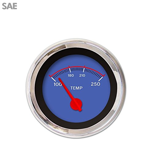Aurora Instruments 3210 VX Blue SAE Water Temperature Gauge Red Modern Needles, Chrome Trim Rings, Style Kit DIY Install