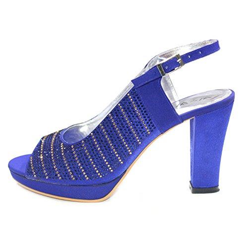 Shoes Scatto Doppio amp; Eddy Royal Party Da 4 W Abiti Medio A Plateau blu Donna Wedding Sera Blu Tacco Sandal Con Per 9 XxZxqwdFnI