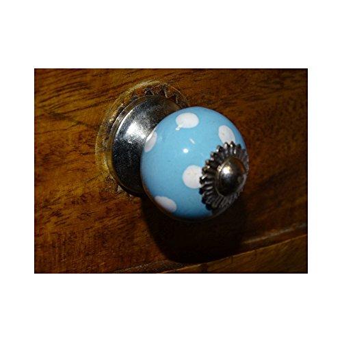 int. d'ailleurs - Mini boutons bleu ciel pois blanc/argent - KNB367 int. d' ailleurs