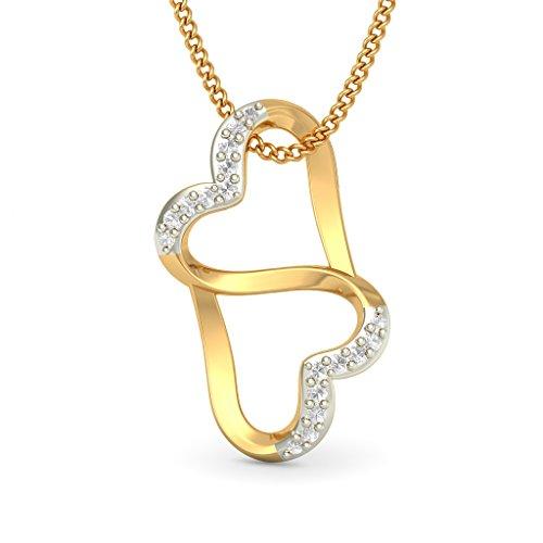14K Or jaune 0,1ct tw Round-cut-diamond (IJ | SI) Pendentif
