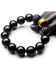 Handmade Nature Obsidian Tiger Eye Gemstone Fortune Prayer Bead Bangle Lcky Men Bracelet 1111