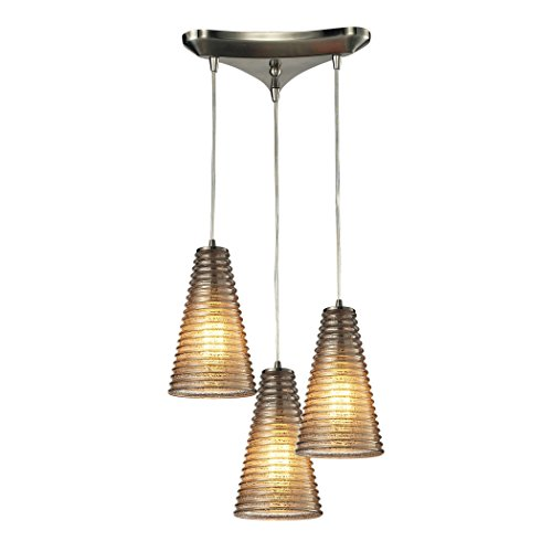 Elk Lighting 10333/3 Ribbed Glass Collection 3 Light Chandelier, Satin Nickel