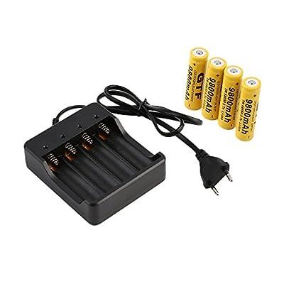 battery aa 4Pcs 18650 3.7V 9800mAh Li-ion Rechargeable Battery+EU Smart Charger Indicator [EU plug] battery charger