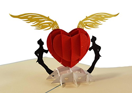 iGifts and Cards Gay Heart 3D Pop up Greeting Card - Pride, LGBT, Men, Love, Soulmate, Rainbow, Half-Fold, Wedding, Valentine's Day, Engagement, Friendship, Thank You, Happy Birthday, Anniversary by iGifts And Cards