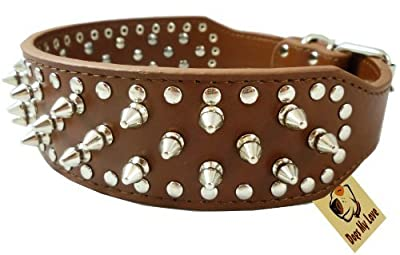 "19""-22"" Brown Faux Leather Spiked Studded Dog Collar 2"" Wide, 37 Spikes 60 Studs, Pitbull, Boxer"