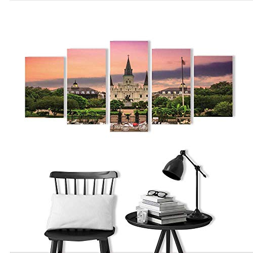 5 Piece Wall Art Painting Frameless Jackson Square New Orleans Posters Wall Decor Gift (5 Piece Queen Poster)