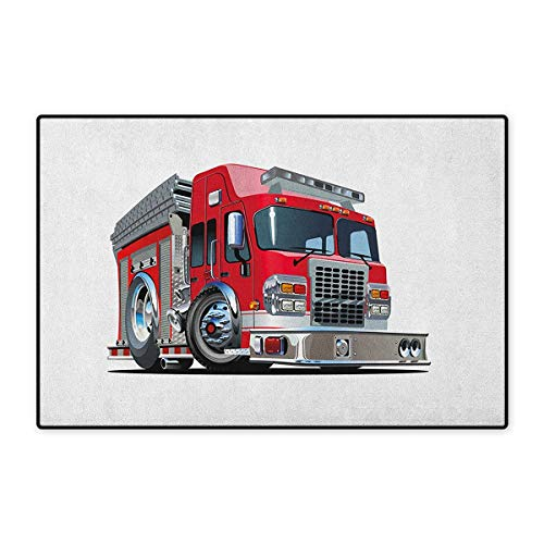 Truck,Door Mats Carpet,Cartoon Style Red Fire Truck Emergency Services Safety of The City Transportation,Door Mats for Inside Non Slip Backing,Red Pale Grey,Size,24