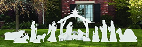 COMPLETE LARGE WHITE OUTDOOR NATIVITY SCENE by Front Yard Originals