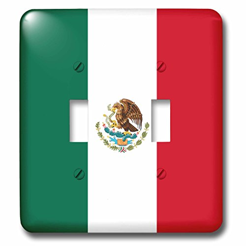 3dRose lsp_158374_2 World Flag Of Mexico - Mexican Green White Red Vertical Stripes - Eagle Serpent Cactus Coat Of Arms - Double Toggle Switch by 3dRose