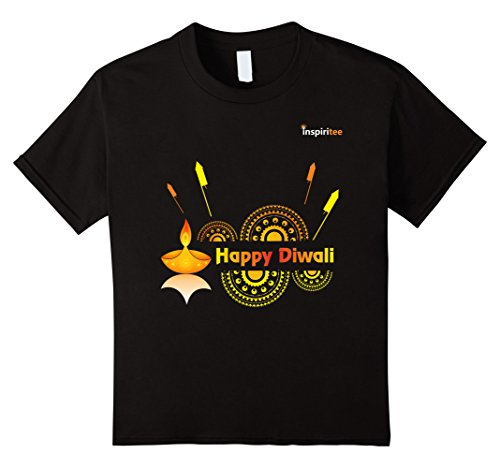 Kids Inspiritee - Happy Diwali - T Shirt 3 12 Black by Inspiritee