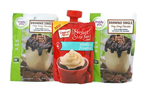 Ooey Gooey Brownies - Variety Pack - Molly & You Brownie Singles (2.75 Oz) - (2x) Ooey Gooey Chocolate & Duncan Hines Perfect Size For 1 Frosting (3.7 Oz) - Vanilla