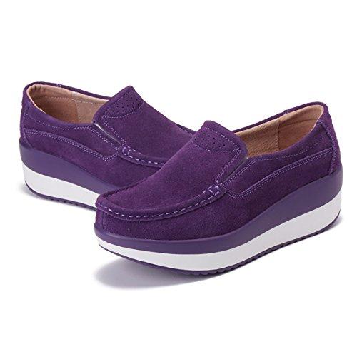 Viola In Tacco Da Pelle Cuneo Sneaker Comodo Gracosy Guida Mocassini Donna Casual Comode Zeppa Piattaforma Loafers Scamosciato Con Nascosto Scarpe Moda wqBWzt1R