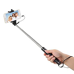 intcrown selfie stick extendable self portrait monopod black cell phones. Black Bedroom Furniture Sets. Home Design Ideas