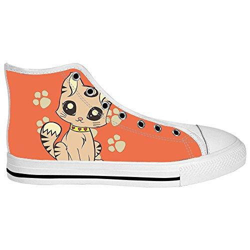 Custom Cartoon Katze Mens Canvas shoes Schuhe Lace-up High-top Sneakers Segeltuchschuhe Leinwand-Schuh-Turnschuhe E