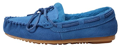 MILANAO Cyber Monday Women Winter Slip-On Fasion Lace Moccasin-Gommino Super Warm Shoes(7 B(M)US, blue)