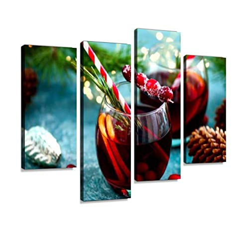 - Christmas Punch on a Winter Table Canvas Wall Art Hanging Paintings Modern Artwork Abstract Picture Prints Home Decoration Gift Unique Designed Framed 4 Panel