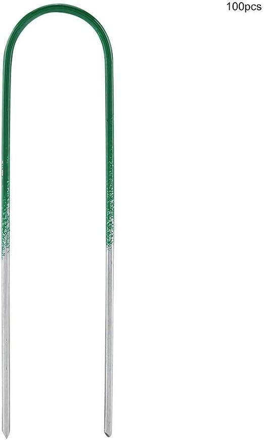 100PCS Clavijas de jardín Estacas Grapas Asegurando el césped En Forma de U Clavijas de Clavo Ideal para la fijación de Redes de sombrillas y césped Artificial / 5.9 Pulgadas: Amazon.es: Hogar
