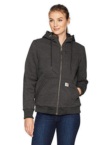 Carhartt Women's Rain Defender Rockland Quilt Lined Zip Hooded Sweatshirt, Carbon Heather, X-Large